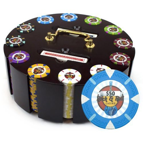 Claysmith Gaming 300-Count 'Rock & Roll' Poker Chip Set in Wooden Carouse, 13.5gm ()