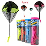 Peicees Toy Skydiver Paratrooper Parachute Men Light Up Flying Glider 4 Piece