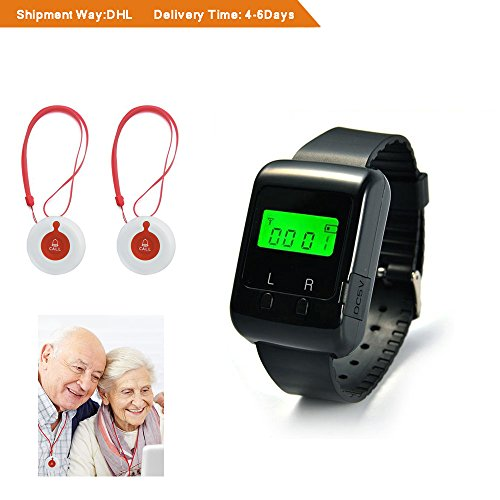 Caregiver Call Button System-Smart Caregiver Nurse Call Alert Alarm System for Elder Patient Disable Gifts 1PCS Wearable Pager + 2PCS Fixed Mounted/ Portable Call Bell Buttons 3 Years Warranty