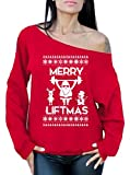 Awkward Styles Merry Liftmas Sweatshirt Merry Christmas Sweater Christmas Off Shoulder Tops Red S