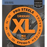 D'Addario EPS160-5 5-String ProSteels Bass Guitar Strings, Medium, 50-135, Long Scale