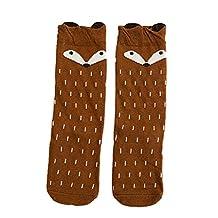 Jiayiqi Kawaii Cartoon Fox Pattern Knee High Socks Girls Princess Stocking