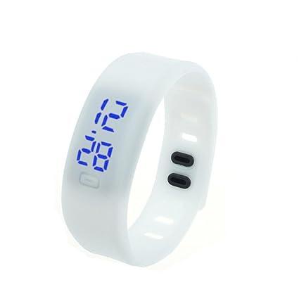 koly Long Reloj Sport Rubber Silicona digital LED reloj de pulsera Blanco blanco Talla:Größe