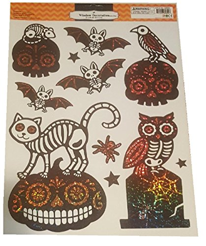 Halloween Window Decorations Removable and Reusable Sticker Clings (Sparkle (Decorate Mason Jars For Halloween)