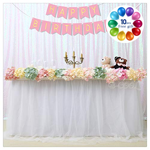 B-COOL White Table Skirt 6 Yards Cake Dessert Table Skirt Accordion Pleat Polyester Romantic Tutu Fluffy Table ware Home Decor(L18(ft) H 30in)