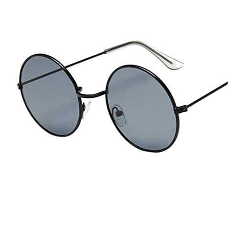 DaoRier Retro Oval Gafas de Sol Mujer Redondas Transparentes Lente HD Mejorada Hombre