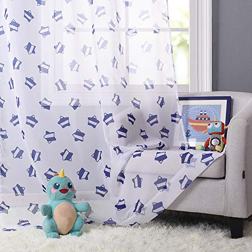 KGORGE Sheer Star Print Curtains - Window Treatment Modern Style Sparkly Star Printed Grommet Design White Voile Drapery Panels Sets for Nursery/Baby/Kids Room Decor, W52 by L95, Navy Blue Star