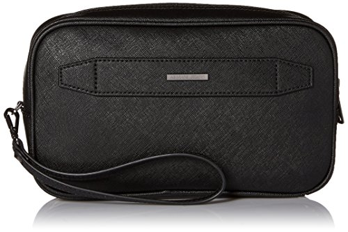 Armani Exchange Men's Safiano Embossed Pu Toiletries Bag, Black by A|X Armani Exchange