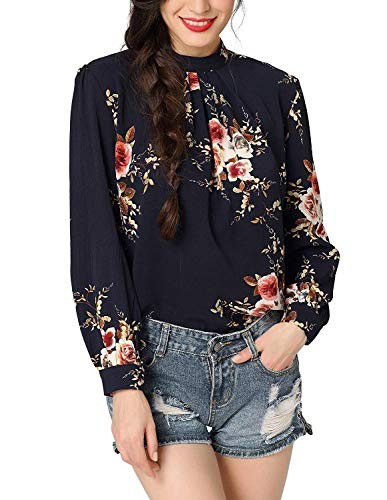 Women Sexy Business Cocktail Work Top Elegant High Neck Party Blouse Shirts (Black, L)