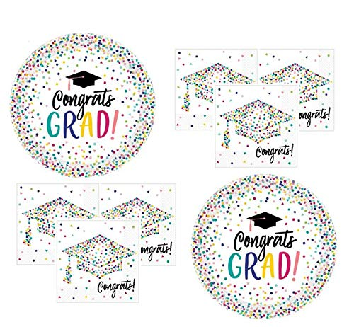 Graduation Party Supplies 2019 Graduate Tableware Pink Teal Confetti Theme for 36 Guests