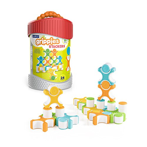 Stackers - 24 Piece Set, Stem Soft Grip Magnetic Building Toy for Toddlers (Magneatos Educational Toy)