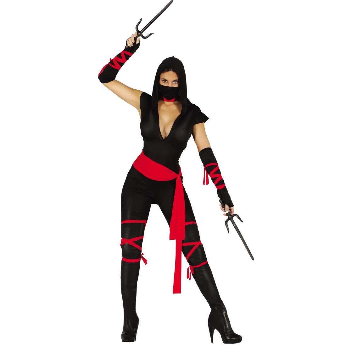 cb2fcd7a2d82a7 NET TOYS Costume de Ninja pour Femme Déguisement de Samurai Femmes S 38 40  Tenue de Carnaval guerrière Japonaise Habit défilé combattante Ninja  vêtements de ...