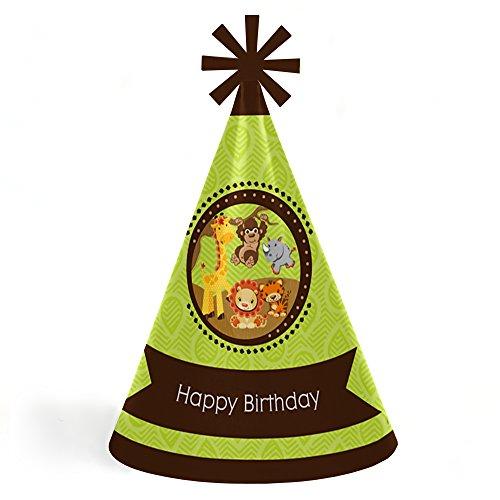 Funfari - Fun Safari Jungle - Cone Happy Birthday Party Hats for Kids and Adults - Set of 8 (Standard ()