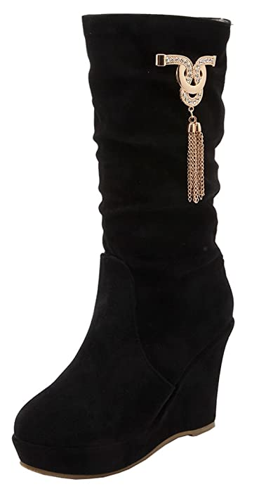 Women's Casual Round Toe Solid Slouchy Mid Cuff Pull On Boots With Pendant