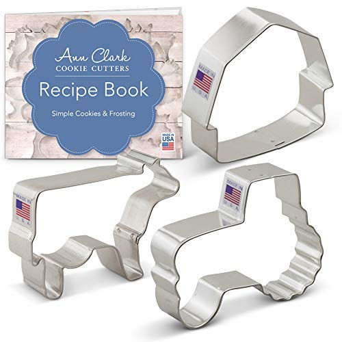 (Country Farm Cookie Cutter Set with Recipe Booklet - 3 piece - Barn, Tractor and Cow - Ann Clark - USA Made Steel)