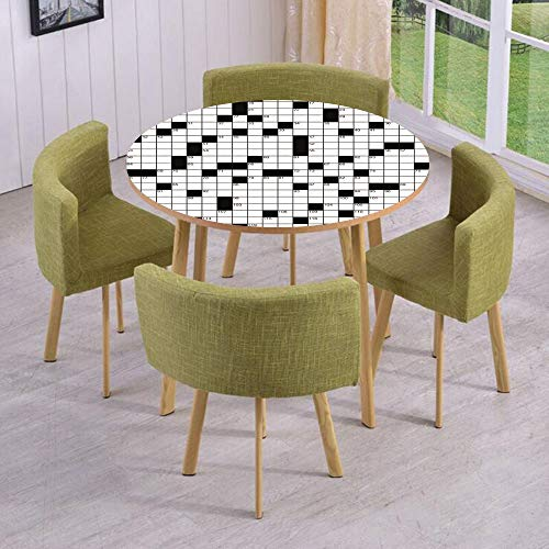 iPrint Round Table/Wall/Floor Decal Strikers,Removable,Classical Crossword Puzzle with Black and White Boxes and Numbers Decorative,for Living Room,Kitchens,Office -