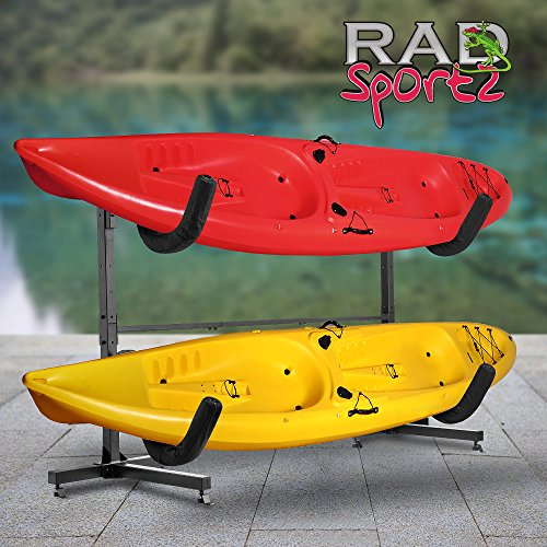 RAD Sportz Indoor Outdoor Freestanding Heavy Duty Two Kayak Storage Kayak or Paddle Board Storage Rack System (Kayak Cover Deluxe)