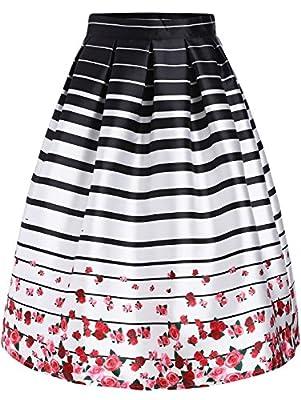 Lingswallow Women's White Striped Rose Print Knee Length Flare Skater Skirt