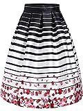 Lingswallow Womens White Striped Rose Print Knee Length Flare Skater Skirt,small