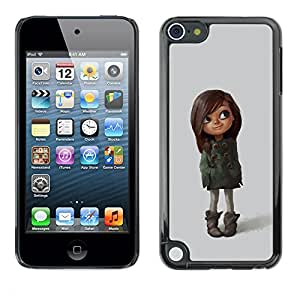 Planetar® ( Cute Character Brown Girl Mother Kid ) Apple iPod Touch 5 Fundas Cover Cubre Hard Case Cover