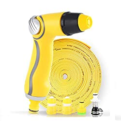 USUNO effortless and high-pressure spray gun with 20-meter folding hose and universal joint for washing car, window, floor and watering the garden. (66 Ft)