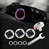 LEADTOPS Car Auto Waterproof Solar Energy Wheel Light Lamp Decorative Flashing Colorful LED Tire Light Gas Nozzle Cap Motion Sensors for Car Motorcycles Bicycles (4pcs-pack)