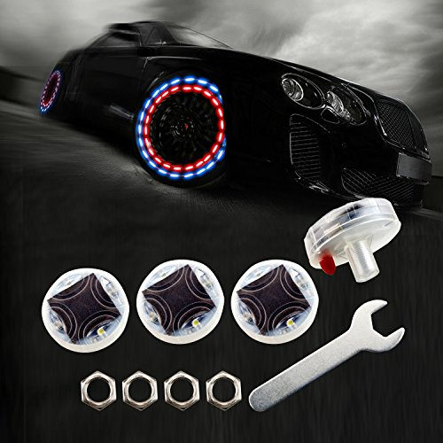 LEADTOPS Car Auto Waterproof Solar Energy Wheel Light Lamp Decorative Flashing Colorful LED Tire Light Gas Nozzle Cap Motion Sensors for Car Motorcycles Bicycles (4pcs-Pack) ()