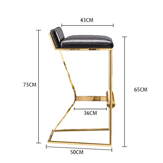 Amazon.com: MS Furniture Bar Chair Household Stainless Steel Metal Bar Stool Modern High Chair Loft Counter Tall Chairs Front Desk Stools Genuine Leather ...