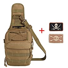 Lalawow EDC Tactical Sling Pack Outdoor Tactical Backpack with 2 Tactical Patch for Camping,Hiking,Trekking,Rover Sling Rope Bag