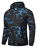 Global Men's Hooded Lightweight Windbreaker Rain Jacket Water Resistant Shell (Black Blue,Large)