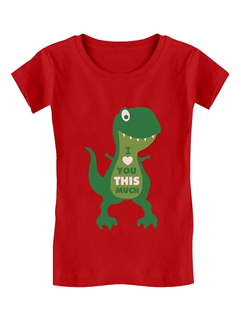 Valentine's Day I Love You This Much T-Rex Toddler/Kids Girls' Fitted T-Shirt GM0P000gw5