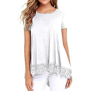 9d019337c48dc Bluestercool Hauts pour Femmes, Casual Dentelle Patchwork T-Shirts Manches  Courtes Col Rond Tunique