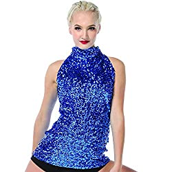 Royal Blue Sequin Dance Costume Tank Top For Kids