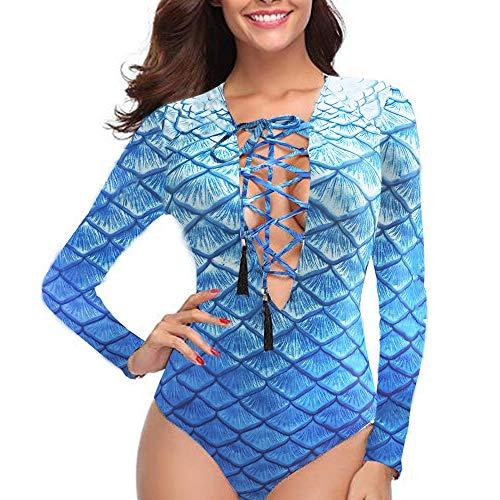 27938cd0f8 FORNY Women Long Sleeve Bathing Suits one Piece lace up Swimsuits Print  Swimwear Tank Surfing Beachwear