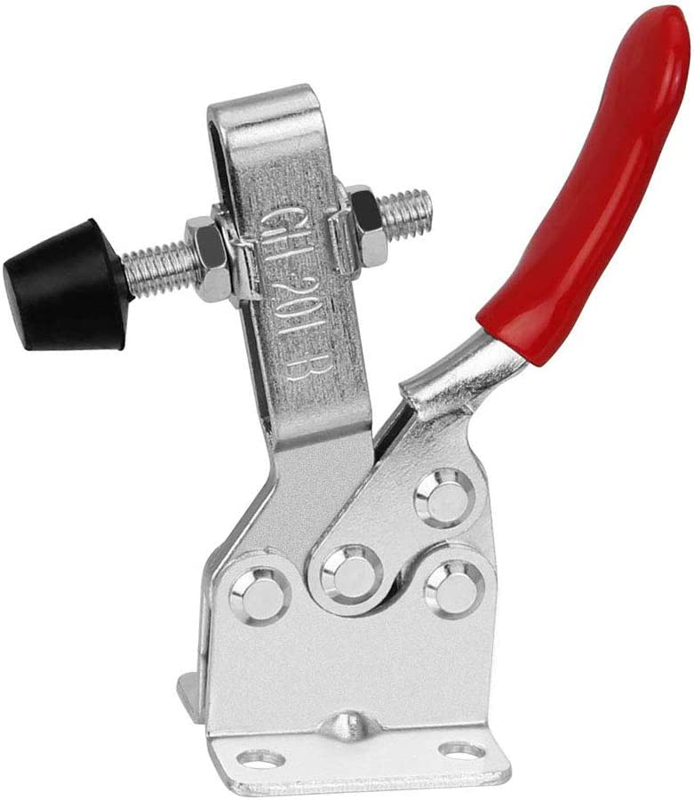 Globaldream 4 Pieces Toggle Clamps Latch Anti-Slip Red 201B Hand Tool 90 Kg Holding Capacity Anti-Slip Horizontal Quick Release Heavy Duty Toggle Clamp Tool