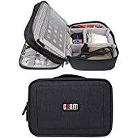 Electronics Accessories Organizer Bag, BUBM Waterproof Double Layers Travel Gadget Organizer Bag for Data Cables, Chargers, Plugs, Memory Cards, CF Cards and iPad Mini (Gray)