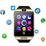 Smartwatch with Camera & Music Remote for Android - Smart Watch Fitness Tracker with Audio and Image and Camera for Men & Women (Gold3)