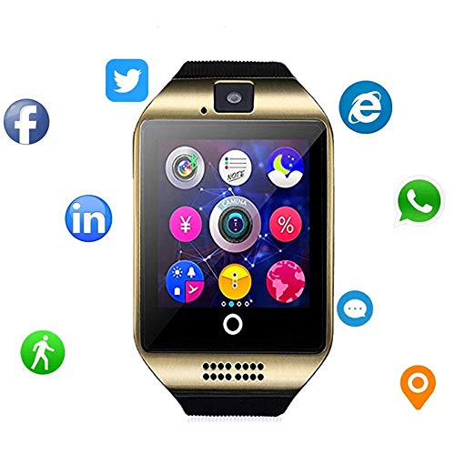 Bluetooth Smart Watch Fitness Tracker - Sport Watch Touch Screen with Camera Pedometer Sleep Monitor Call/Message Reminder Music Player Anti-Lost - Compatible Android Smartwatches (Gold)