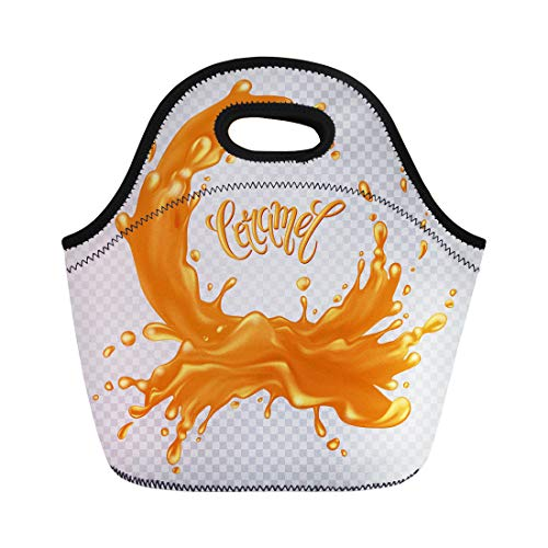 (Semtomn Lunch Tote Bag Toffee Caramel Liquid Splash and Drops on Inscription Water Reusable Neoprene Insulated Thermal Outdoor Picnic Lunchbox for Men Women)