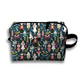 Nutcracker Ballet Christmas Cosmetic Bags Travel Organizer Pencil Case Portable Storage Pouch Tote Bag Cosmetic Train Case Lightweight Hanging Small Pouch Bag For Women Teen Boys Men Gifts