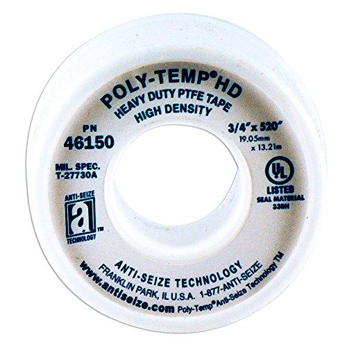 "5-PACK NEW POLY-TEMP ANTI-SEIZE PTFE TAPE XHD EXTRA HEAVY DUTY 1//2/"" x 520/"" 46235"