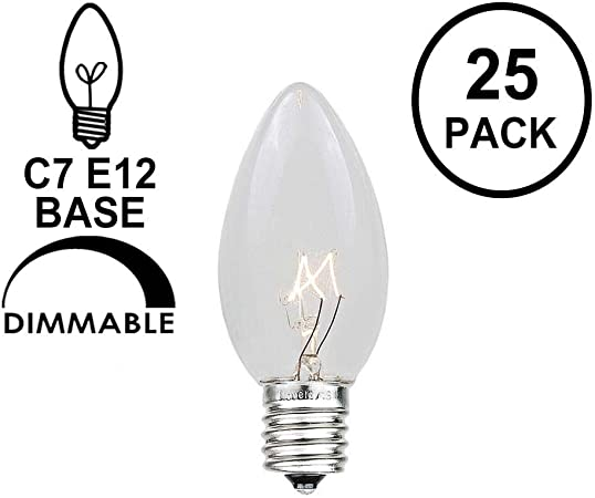 Clear 25 Pack Candelabra Base Christmas Lights C7 5 Watt