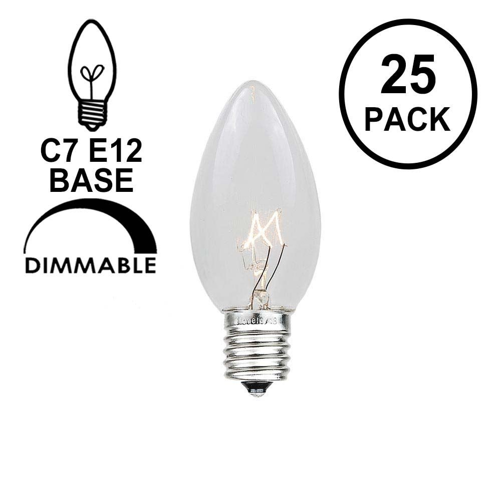 Novelty Lights 25 Pack C7 Outdoor String Light Christmas Replacement Bulbs, Clear, C7/E12 Candelabra Base, 5 Watt