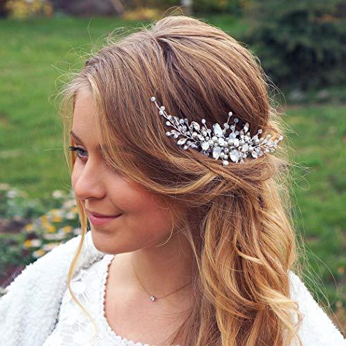 Barogirl Wedding Hair Comb Silver Rhinestones Blue Opal Crystal Bridal Hair Accessories for Brides and Bridesmaids (Silver) (Bridal Hair Accessories For Half Up Half Down)