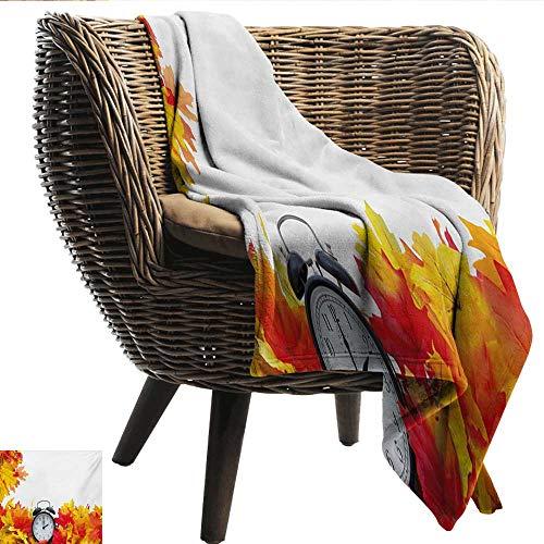 "Davishouse Clock Warm Blanket Autumnal Leaves and an Alarm Clock Fall Season Theme Romantic Digital Print All Season Premium Bed Blanket 50"" Wx60 L"