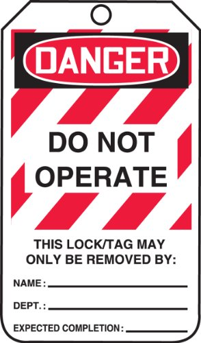 """Accuform Signs MLT406CTP Lockout Tag, Legend """"DANGER DO NOT OPERATE"""", 5.75"""" Length x 3.25"""" Width x 0.010"""" Thickness, PF-Cardstock, Red/Black on White (Pack of 25)"""