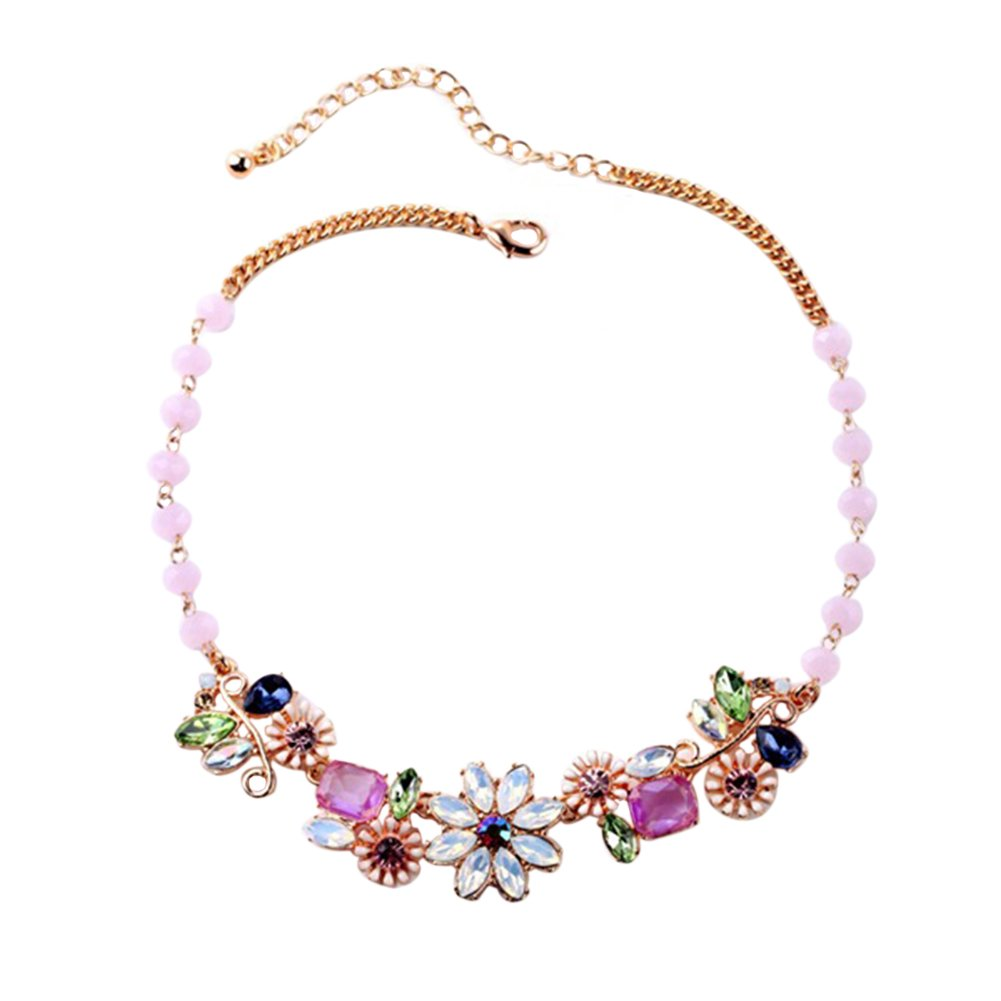 Cdet 1X Women Necklace Pink Flower Pendant Long Chain Necklace Collar Choker Jewellery Love Gift