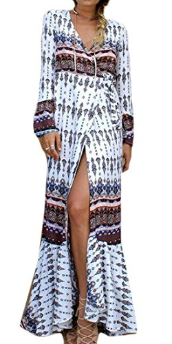Dress Print Womens Sleeve Beach Long Cromoncent Neck Long White V Bohemia qwzE7xP4