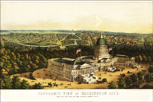 (20x30 Poster; Panoramic View Map Of Washington D.C. Looking West 1856)