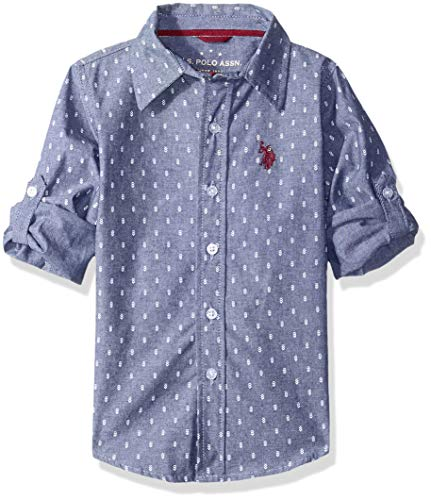 U.S. Polo Assn. Boys Long Sleeve Printed Chambray Woven Shirt, Classic Navy, 14/16